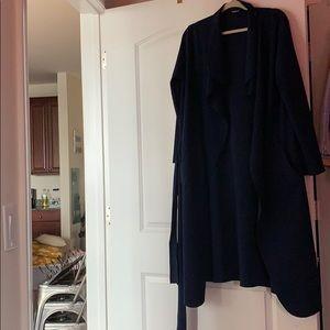 BooHoo navy wrap coat